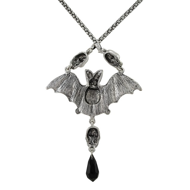 Silvertone Skull And Bat Necklace 30 In. Mens Pendant Necklaces