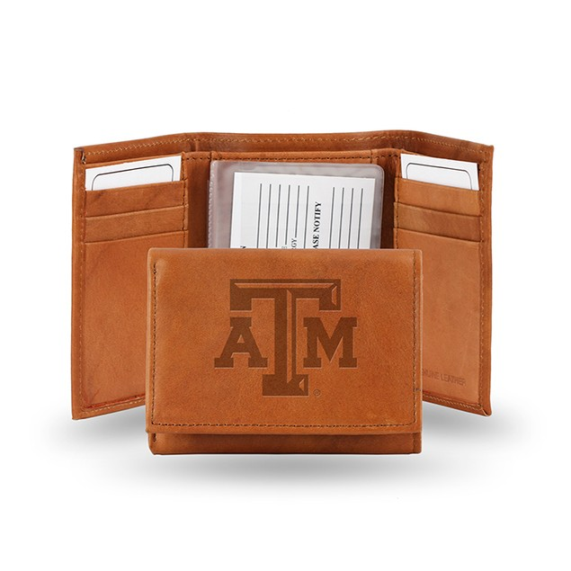 Texas A & M Leather Manmade Trifold