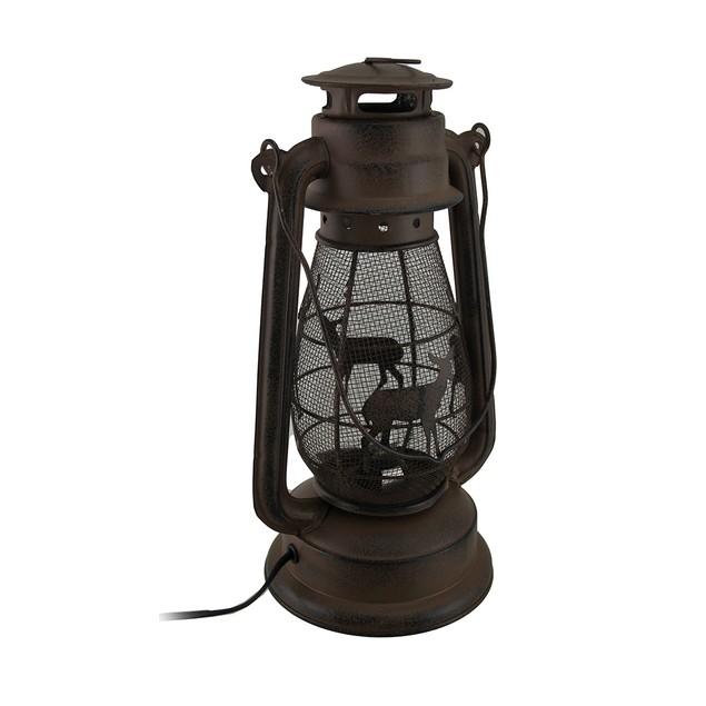 Rustic Brown Enamel Deer Themed Metal Lantern Outdoor Tabletop Lanterns