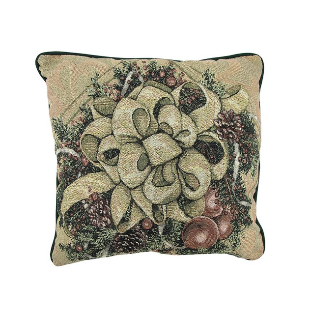Christmas Bows Of Gold Glitter Tapestry Decorative Throw Pillows
