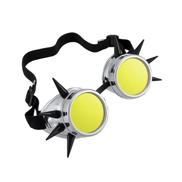 Cyberpunk Black Spiked Silver Decorative Goggles Mens Costume Accessories