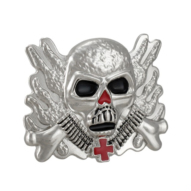Chrome & Enamel Flaming Soldier Skull Belt Buckle Mens Belt Buckles