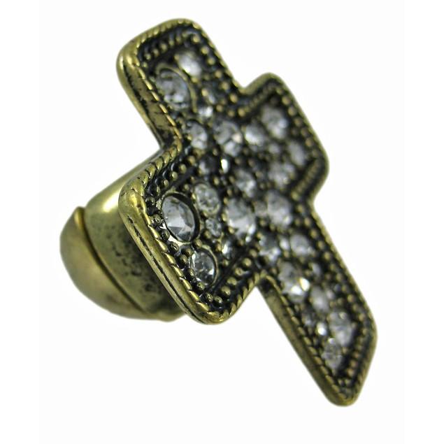 Rhinestone Accented Brass Christian Cross Stretch Womens Rings