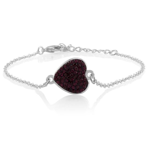 Sterling Silver Crystal Heart Charm Bracelet - 5 Colors