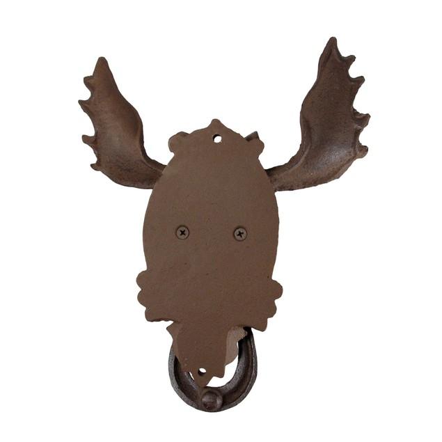 Antiqued Finish North American Moose Door Knocker Door Knockers