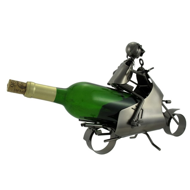 Motorcyclist Metal Sculpture Wine Bottle Display Tabletop Wine Racks