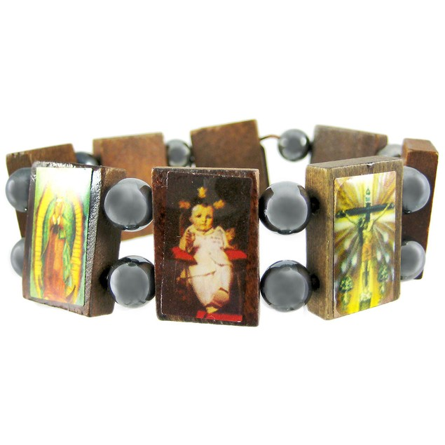 Wooden & Hematite Bead Christian Stretch Bracelet Mens Bracelets