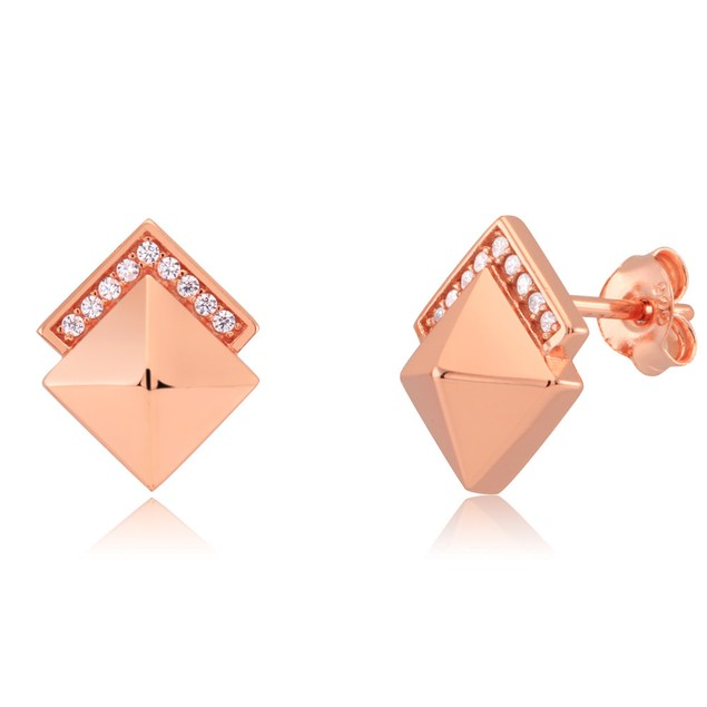 Rose Gold Plated Sterling Silver Pyramid Earrings