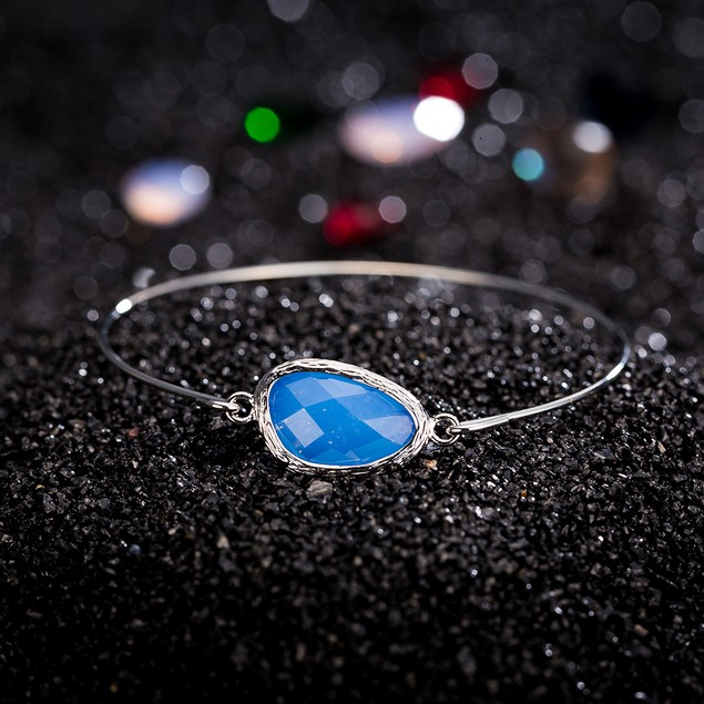 White Gold Plated Sapphire Gem Bangle