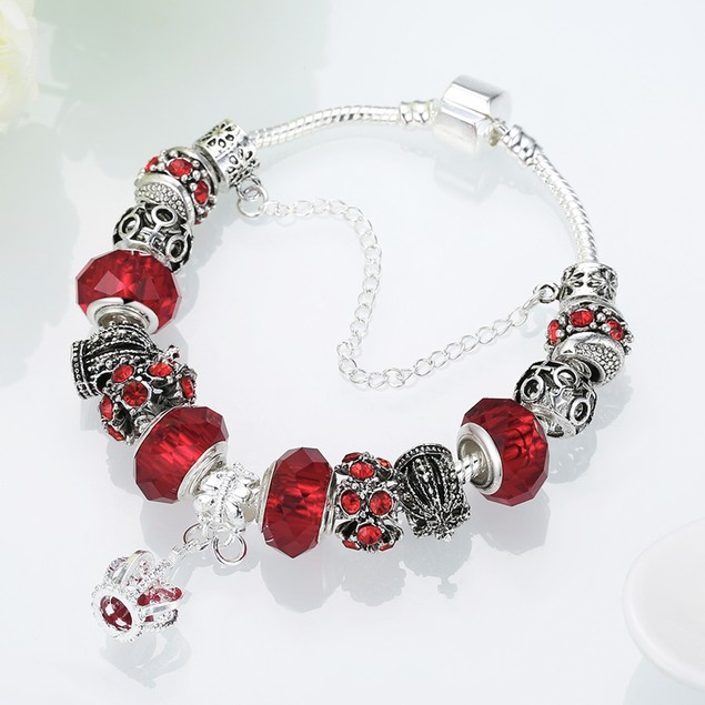 Royal Ruby Crown Jewel Designer Inspired Bracelet
