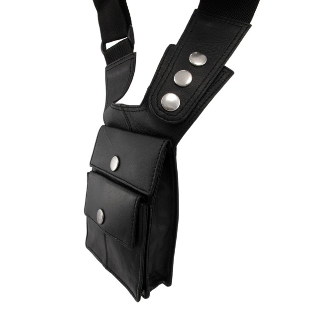 Napa Leather Black Shoulder Holster Travel Wallet Mens Cross Body Bags