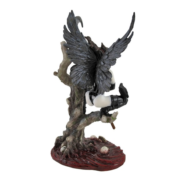 Gothic Dark Angel Warrior With Scythe After Battle Statues