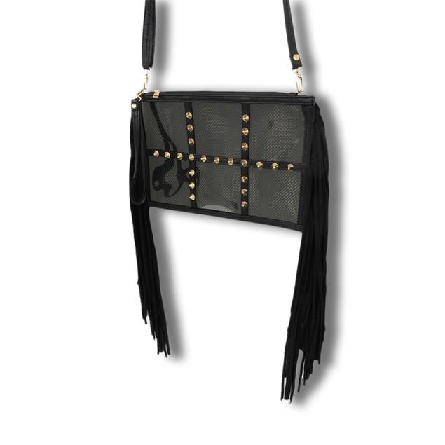 Spiked Clear Vinyl Clutch Purse With Black Mesh Womens Clutch Handbags