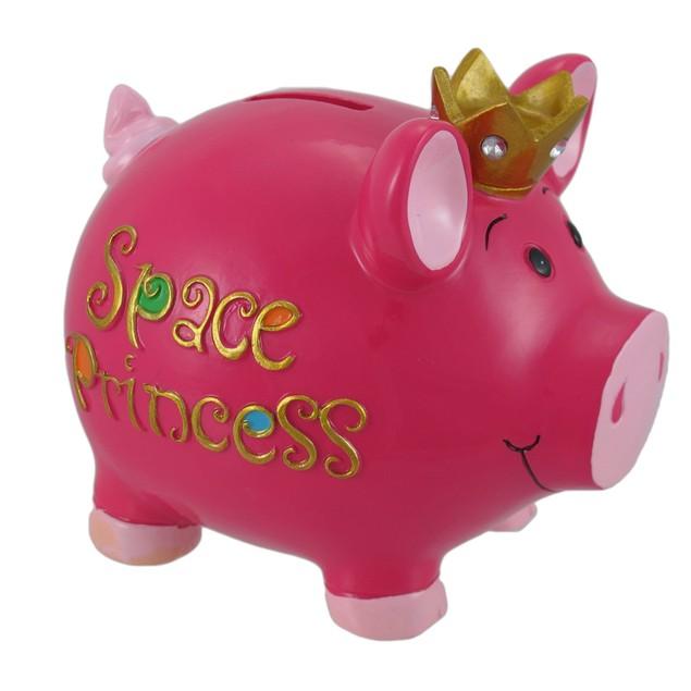Hot Pink `Space Princess` Piggy Bank Girls Toy Banks