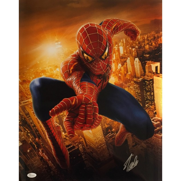 Stan Lee Marvel Comics Signed 16x20 Spiderman Metallic Photo JSA