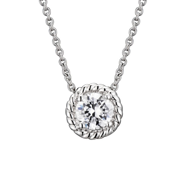 C.Z. Sterling Silver Round Cable Stud Pendant