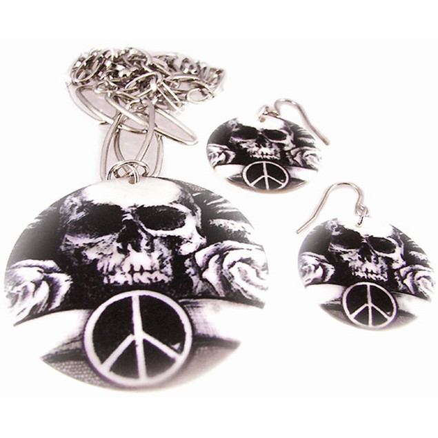 Tattoo Skull & Peace Sign Shell Necklace & Womens Earring And Necklace Sets
