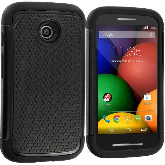 Motorola Moto E Hybrid Rugged Armor Protector Hard Case Cover