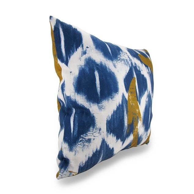 Blue And White Nautical Ikat Decorative Throw Throw Pillows