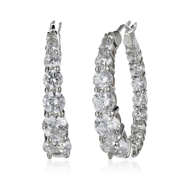 10cttw Graduated Cubic Zirconia Eternity Oval Hoop Earrings