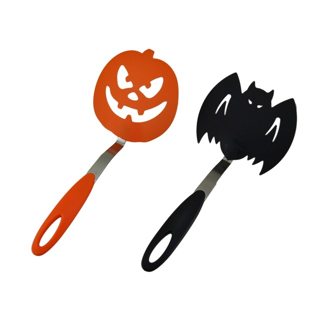 Halloween Black Bat & Orange Pumpkin Spooky Cookie Spatulas
