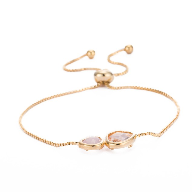 Gold Plated Duo Coral Crystal Gem Bracelet