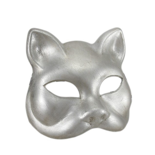 Silver Finish Half Face Carnivale Gatto Cat Masks Womens Costume Masks
