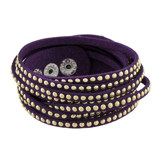 Purple 6 Strand Chrome Studded Wrap Bracelet Womens Wrap Bracelets