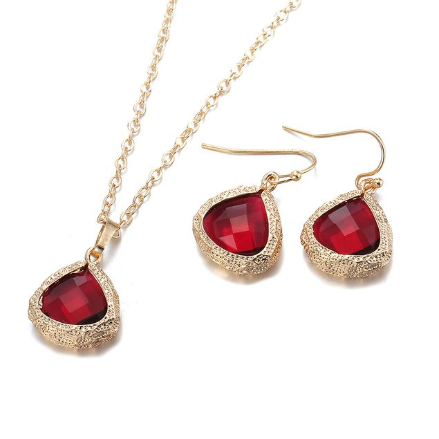 Gold Plated Modern Ruby Necklace & Earrings Set