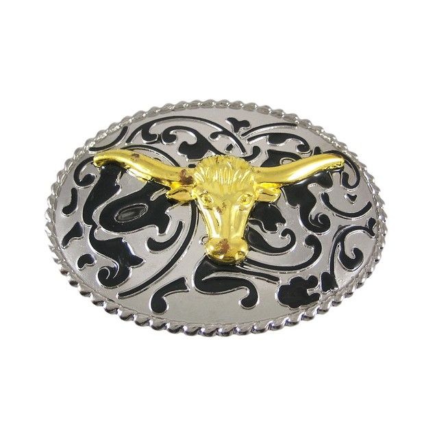Chrome Enamel Steer Head Western Belt Buckle Mens Belt Buckles