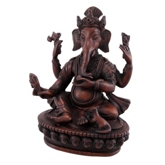 Teak Finish 6 Inch Ganesha Hindu God Statue Ganesh Statues