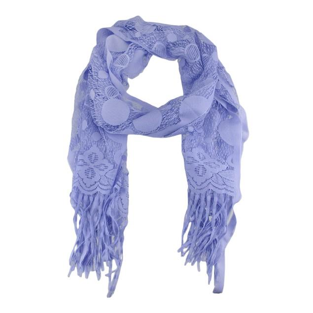 Lavender Mesh Jacquard Scarf Shawl Circle Pattern Womens Fashion Scarves
