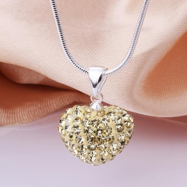 Solid Austrian Stone Heart Shaped Necklace - Light Yellow Citrine