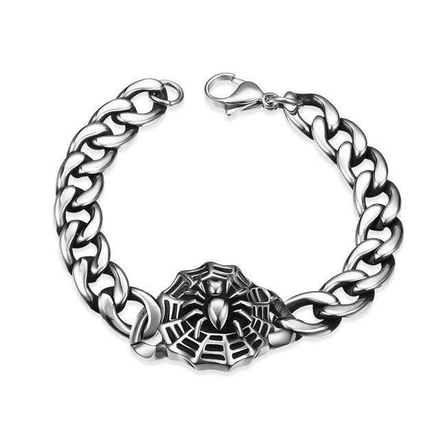 Spider Web Emblem Stainless Steel Bracelet