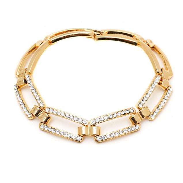 18K Gold and Crystal Elements Link Bracelet