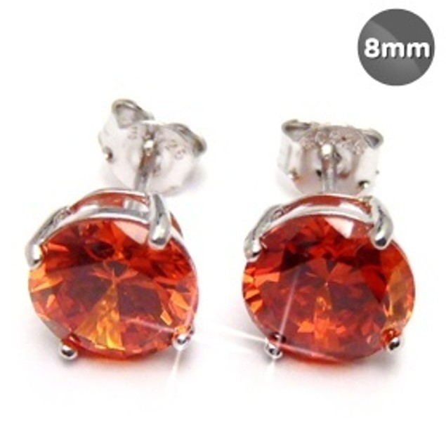 Sterling Silver 8mm Orange Cubic Zirconia Stud Earrings