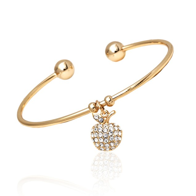 White Swarovski Elements Apple Charm Bangle