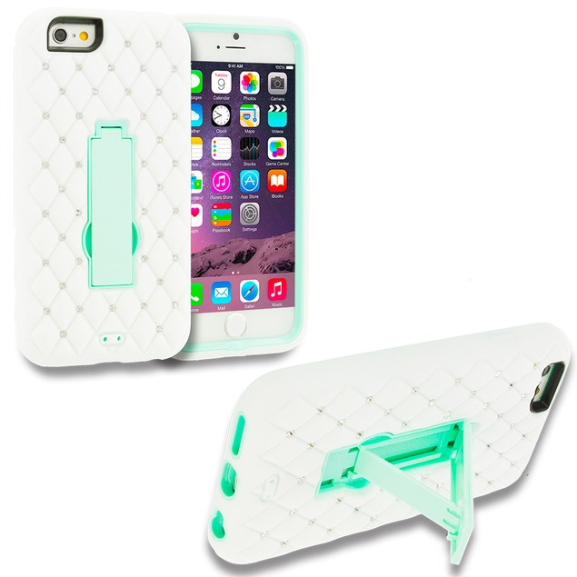Apple iPhone 6 Plus (5.5) Hybrid Diamond Bling Hard Soft Case Cover Stand