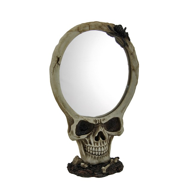 Evil Skull Framed Table Mirror W/Black Spider Wall Mounted Mirrors