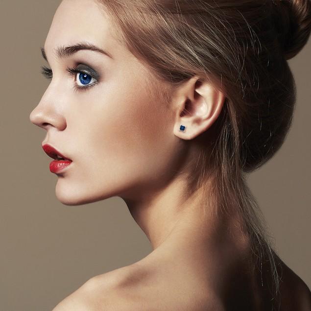 White Gold 1/3ct  Blue Diamond Princess Stud Earrings