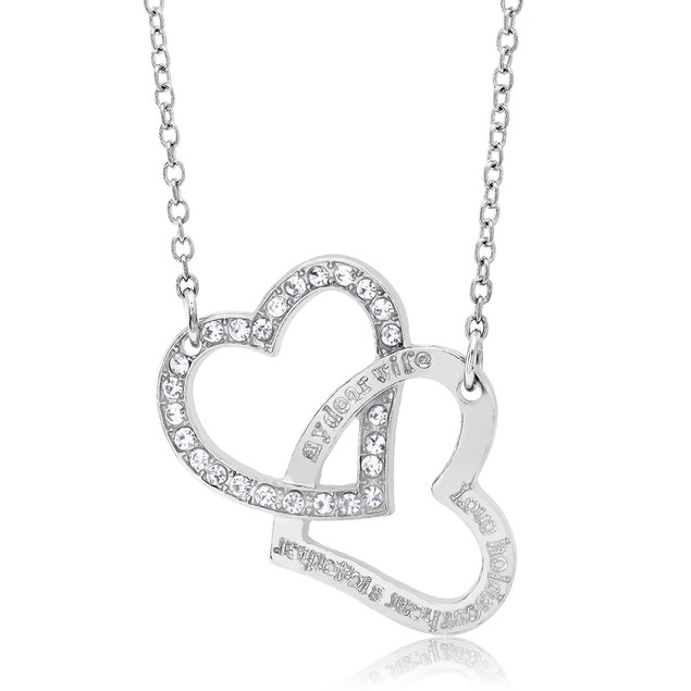 Cubic Zirconia Double Heart Necklace