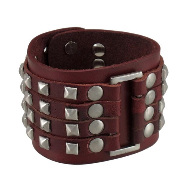 Brown Leather 4 Row Chrome Pyramid Stud Wristband Mens Leather Bracelets
