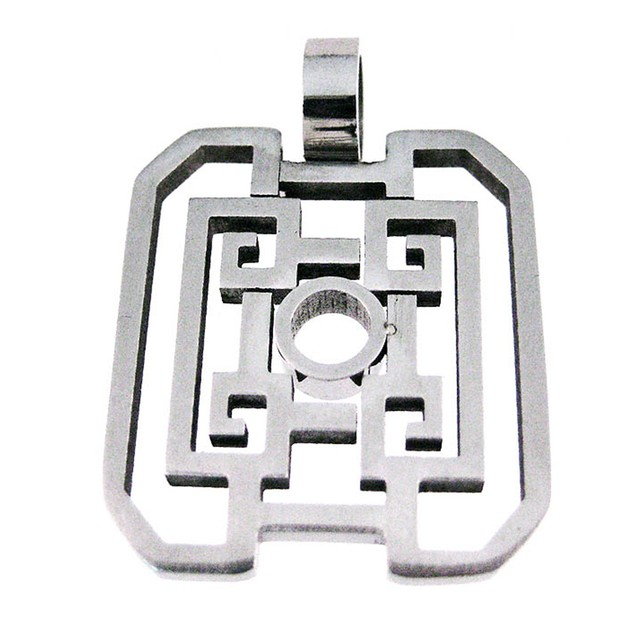 Stainless Steel Open Work Geometric Pattern Mens Individual Pendants