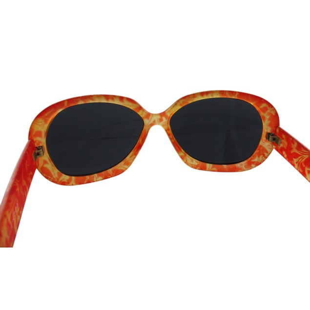 Orange Floral Print Ladies Sunglasses Smoke Lenses Womens Sunglasses