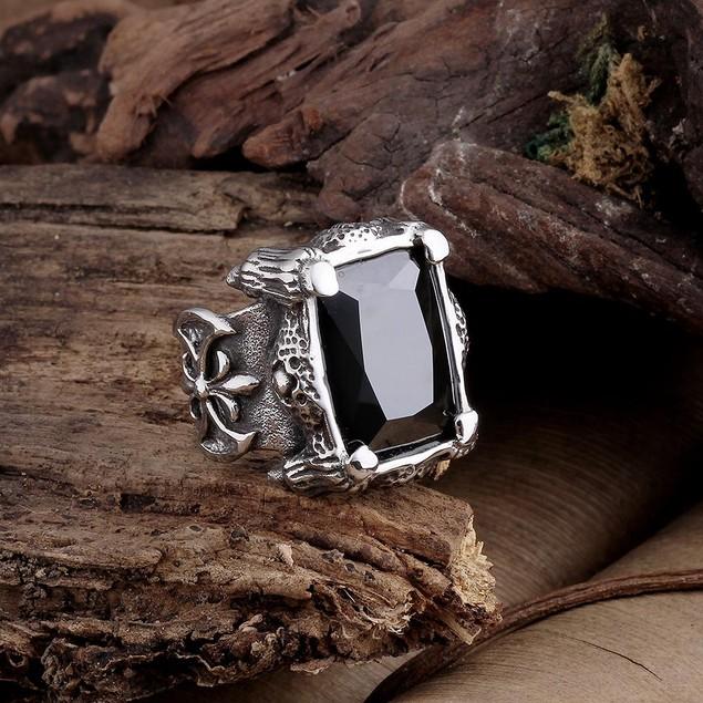Black Diamond Cut Stainless Steel Ring