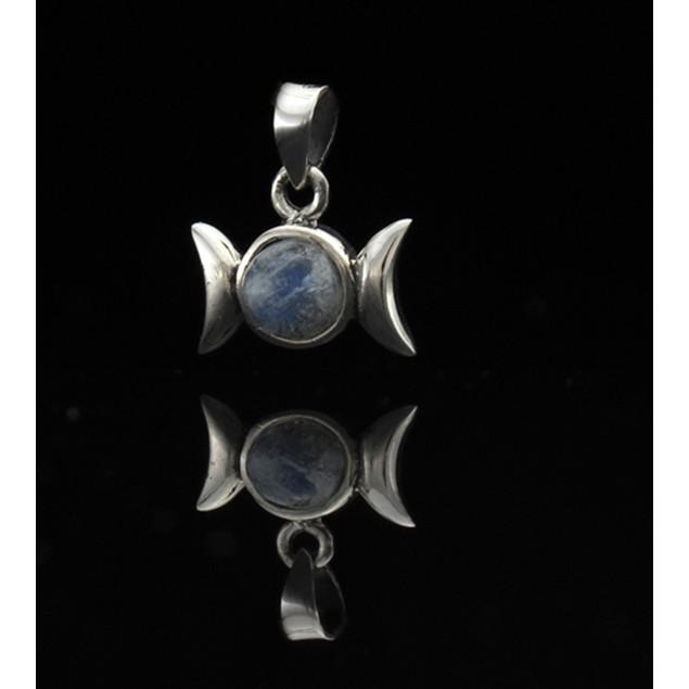 Triple Moon Goddess Pendant W/ Cabochon White Pendants
