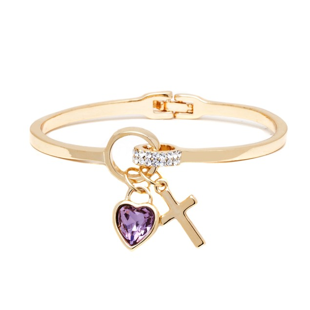 18K Gold & Amethyst Crystal Heart Cross Cuff