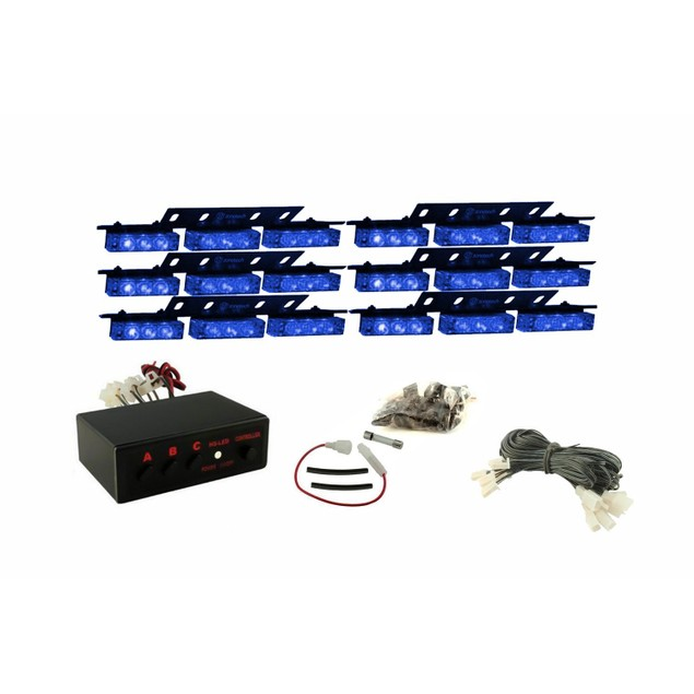 Zone Tech 54 LED Emergency Warning Strobe Lights Blue Windshield Grille