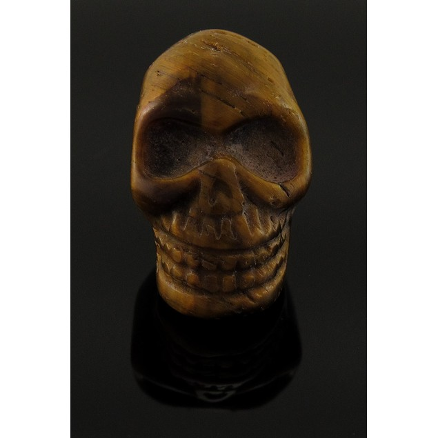 Carved Tiger Eye Gemstone Skull Pendant 25Mm 1 Loose Gemstones