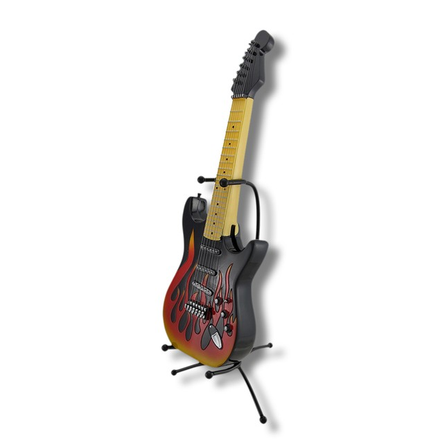 Flaming Black Electric Guitar Coin Bank With Stand Toy Banks